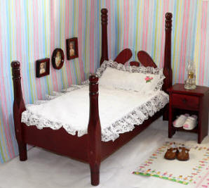 Cherry wood doll bed and bedding set