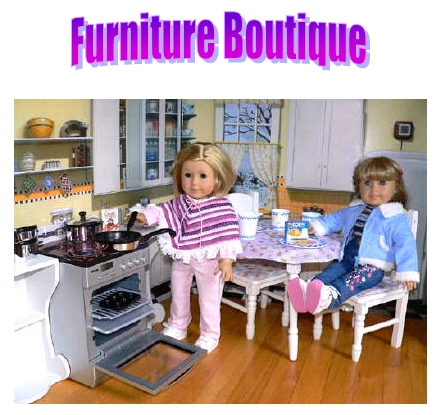 Doll Furniture beds, stoves, sinks, tables and desks
