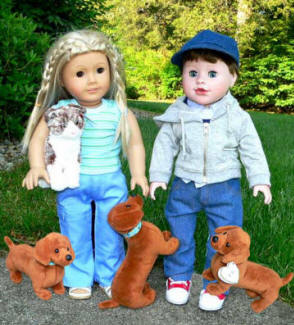 doll clothing in style with dog