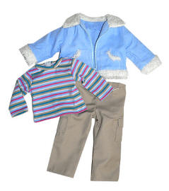 Sherpa jacket, shirt and cargo pants for 18 inch dolls