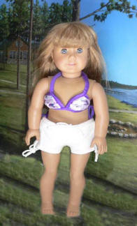 bathing suit and shorts on american girl doll