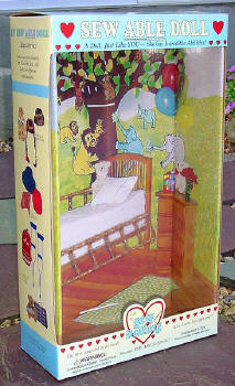 sew dolling dolls box front with background