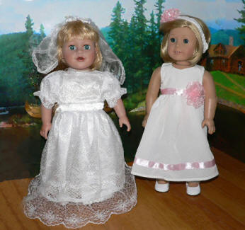 Bridal and confirmation dress for american girl dolls