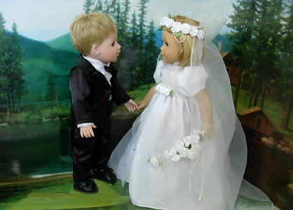 doll bride dress and doll tuxedo