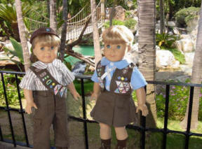 18 inch American Girl Dolls wearing Scout Uniforms