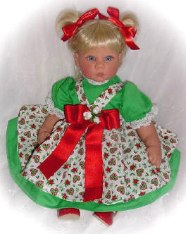 Green Christmas dress with pinafore