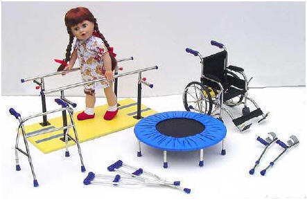 disabled dolls and wheelchair, trampoline