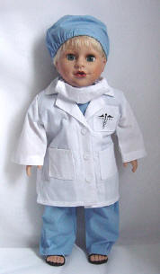 White Lab Coat and Scrubs for Dolls