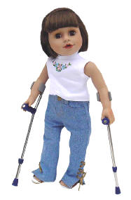 Dolls with crutches, Prosthetics, Wheelchairs
