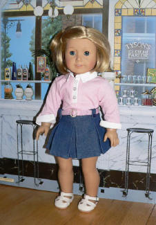 Pink Shirt and Denim Skirt Set for 18 inch dolls