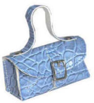 Faux croc fashion purse in blue