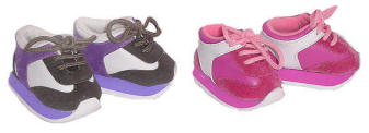 Lavender and hot pink running shoes