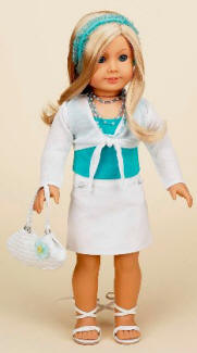 White outfit american girl doll