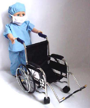 Blue Scrubs and Wheelchair