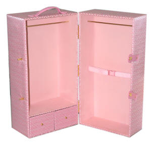 doll trunk with pink hearts